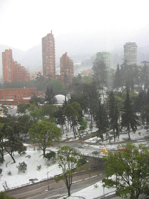 A view of the Independence Park after a hailstorm at Bogota, Colombia. Hailstorms are not frequent but can occured as you can see. Picture taken by Alonso Cárdenas. Come and visit us at www.going2colombia.com/climate-of-colombia.html