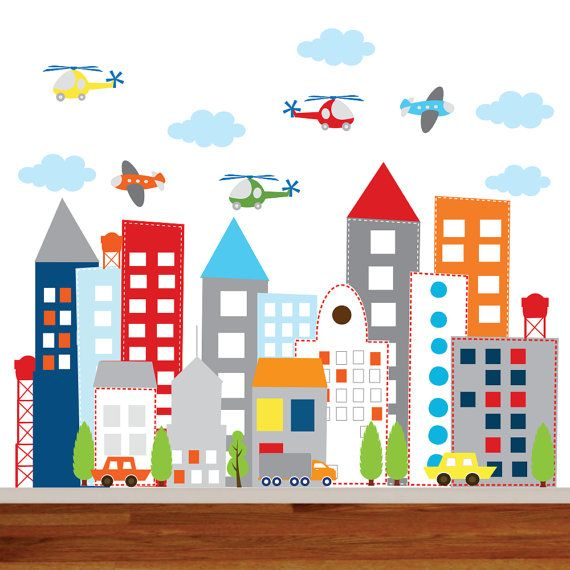 Kids Vinyl Wall Sticker Decal Art city buildings by wallartdesign