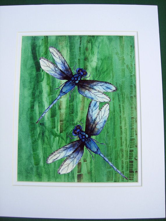 Dragonflies Painting Dragonfly Art Print Handmade by MarilynKJonas, $16.00