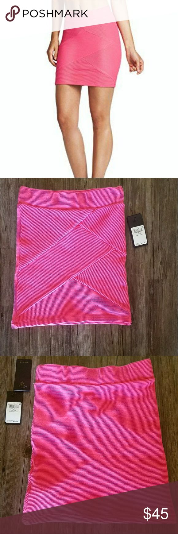 "NWT Guess Sweet Thang Pencil Skirt Size S NWT Guess Sweet Thang Ottoman pencil skirt. Ribbed texture throughout. Elastic waist. 98 % cotton 2% spandex. Size S. New condition. From a smoke free pet free home.  Approx measurements ~  Waist 12""  Length 15"" Guess Skirts Pencil"