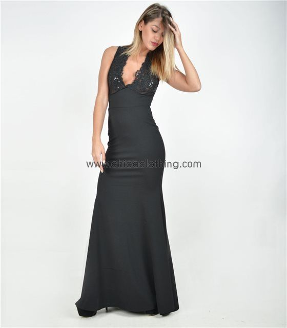 Αμάνικο μάξι φόρεμα με διαφάνεια και παγιέτες (Μαύρο)