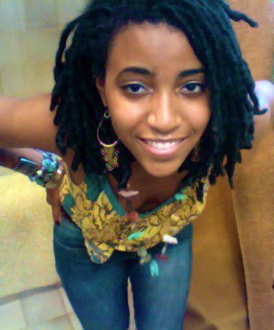 Nude beautiful black woman with dreadlocks