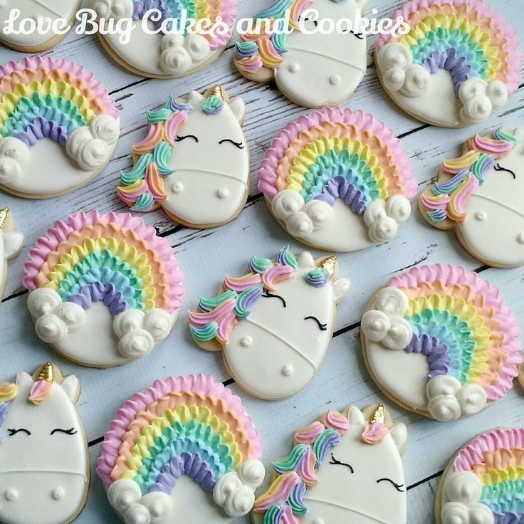 unicorn and rainbow sugar cookies