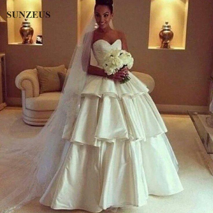 A Linha do Querido Em Camadas de Cetim Vestidos de Casamento Simples E Elegante Longo vestidos de Noiva Abiti da Sposa em Vestidos de casamento de Casamentos & Eventos no AliExpress.com | Alibaba Group