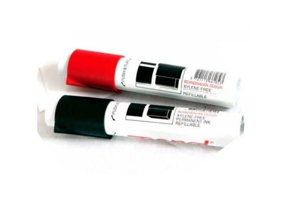 Tusj rød og svart til å skrive på egne ordkort