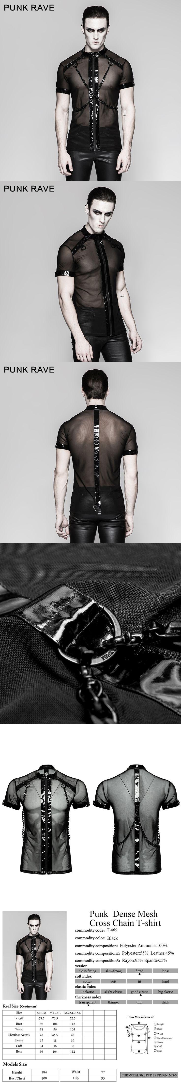 Punk Rave Men's sexy Performance transparent Minimalist Dense Mesh Small Stand Collar Cross Chain T-shirt T465