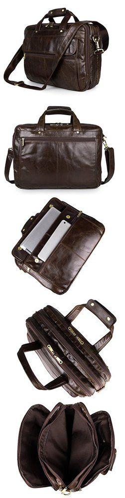 Genuine Cow Leather Men's Briefcase Handbag #Messenger #Laptop #Bag