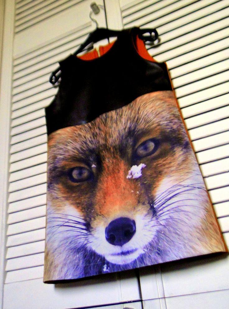 A-lijn jurk met vos fotoprint van kussenhoes action