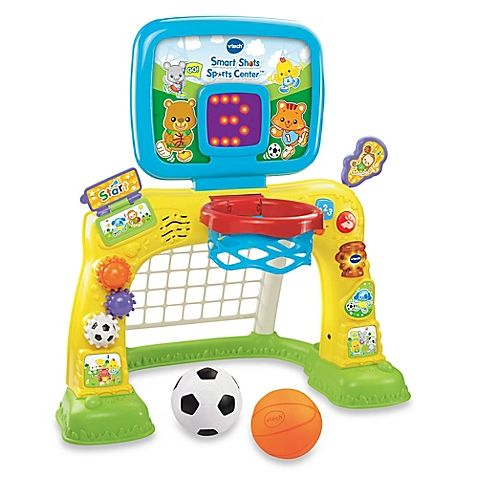 The 2-in-1 Smart Shots Sports Center by V-Tech offers your child double the fun. Kids can shoot hoops with the basketball or score goals using the soccer net. Its electronic scoreboard with light-up numbers and letters makes playing more exciting.