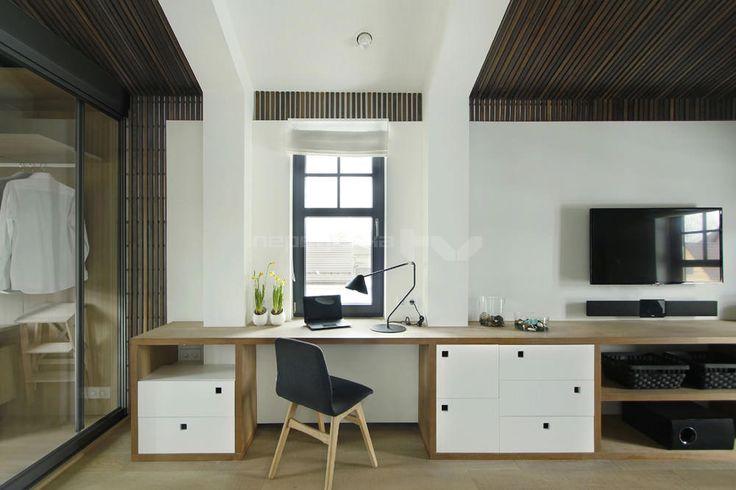 дизайн спальни с гардеробной и рабочим местом