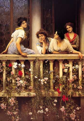 """""""Balcony"""" by Eugene de Blaas, also known as Eugene von Blaas or Eugenio de Blaas (24 July 1843 – 10 February 1932) was an Italian painter in the school known as Academic Classicism. He was born at Albano, near Rome, to Austrian parents. His father Karl, a Jew and also a painter, was his teacher. The family moved to Venice when Karl became Professor at the Academy in Venice. He often painted scenes in Venice. He became professor in the Academy of Venice."""