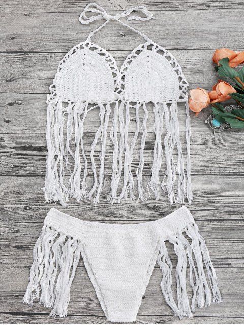 Tasselled Halter Crochet Bathing Suit - WHITE ONE SIZE