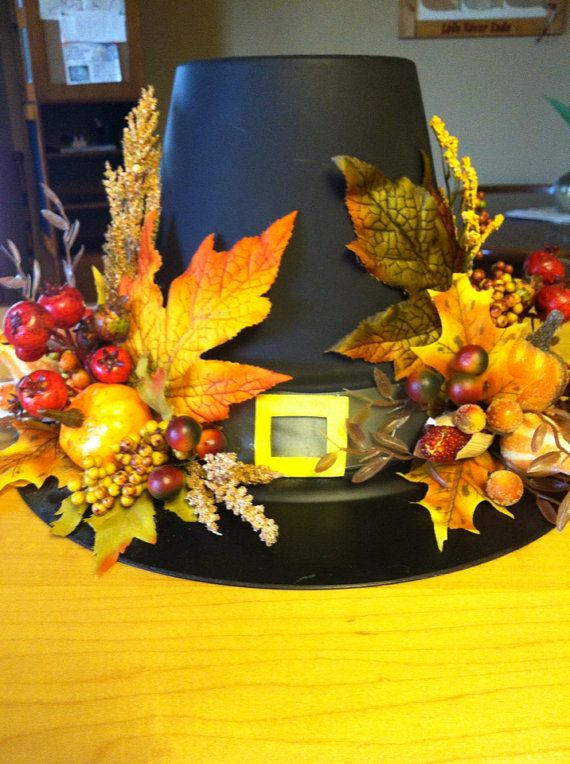 Custom Elegant Traditional Fall Thanksgiving Holiday Pilgrim Hat Clay pot Centerpiece Home Decoration Floral Window and Table Arrangement on Etsy, $65.00
