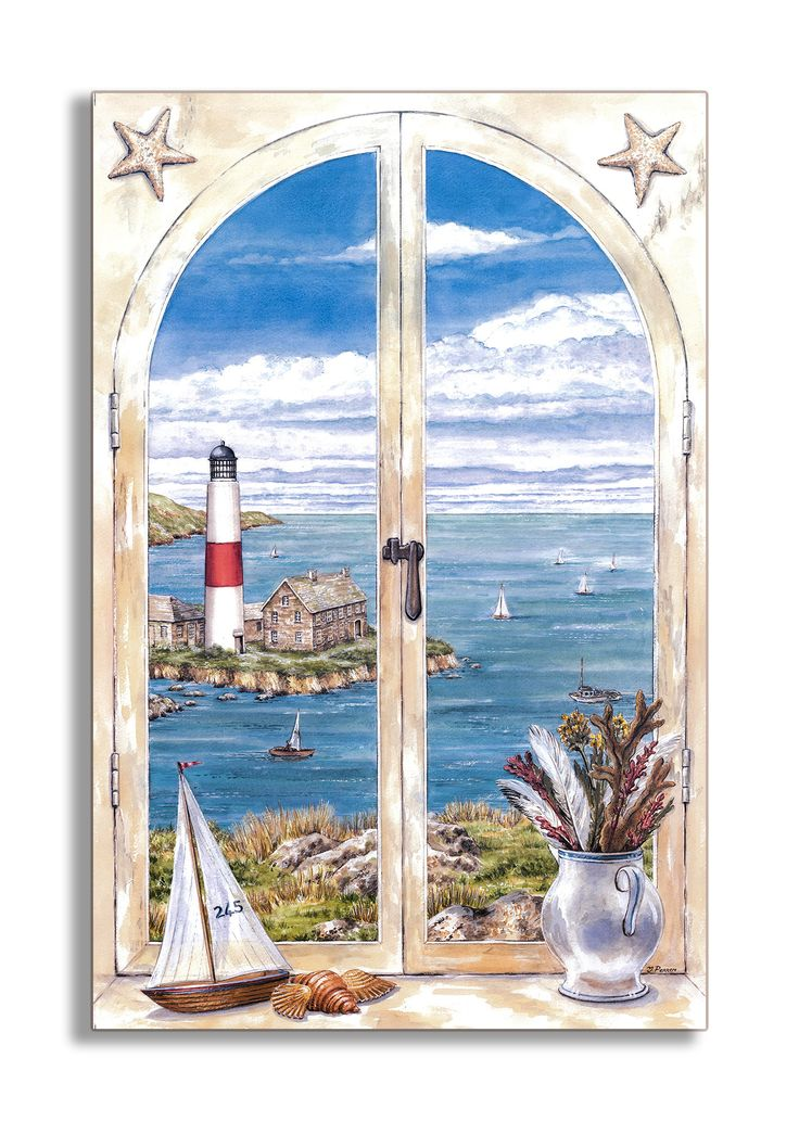 Montauk Lighthouse Faux Window Scene Wall Plaque