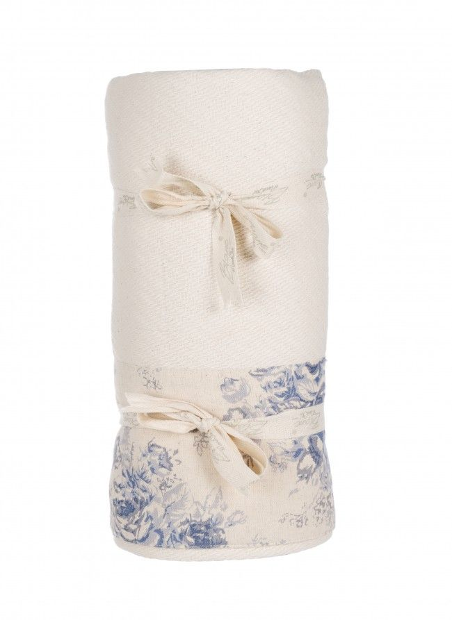 Copriletto singolo avorio con fascia a fiori blu Blanc MariClò - TRAPUNTE E PLAIDS - TESSILE