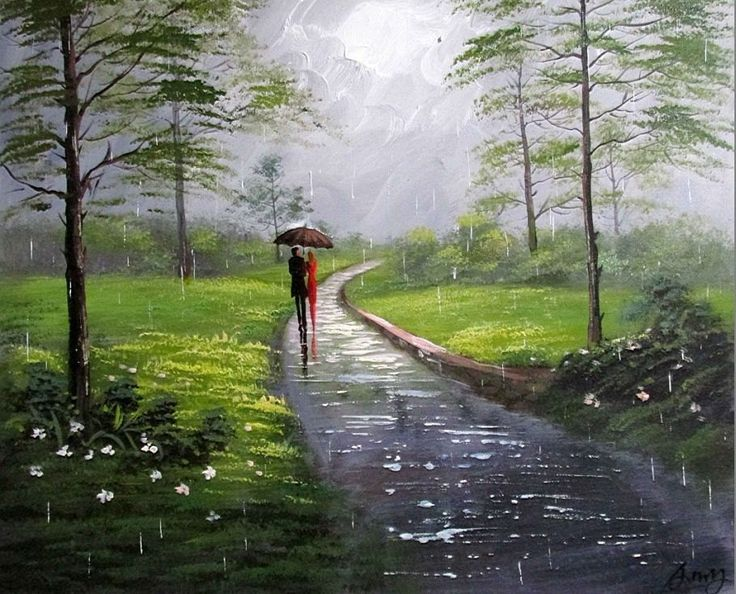 Artist Liyubo's Original oil Painting on wood frame Impressionist Landscape rainy figure Love scenery forest by liyubo on Etsy