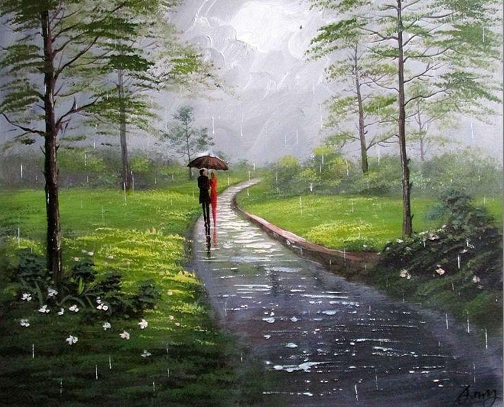 Artist Liyubo's Original oil Painting on wood frame Impressionist Landscape rainy figure Love scenery forest by liyubo on Etsy