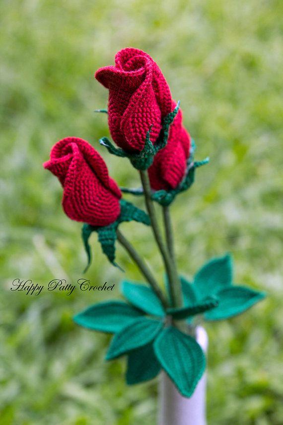 Crochet Rose Pattern Closed Rose Crochet by HappyPattyCrochet