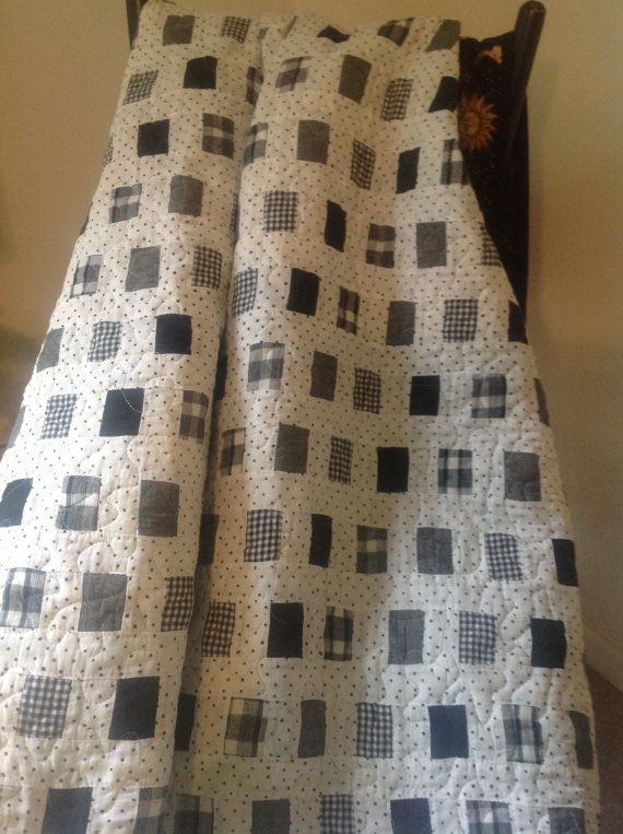 Scrappy quilt in minimalist black and white by MarthaDanielsonSews, $90.00