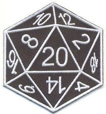 EMBROIDERED CLOTH PATCH D 20 sided Dice D&D Goth Punk geek nerd orange…