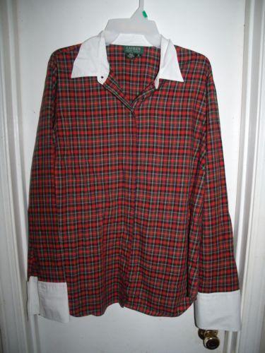 8a4921a0525 LRL-Ralph-Lauren-Red-Black-Plaid-Button-Front-Top-Plus-Size-1X ...