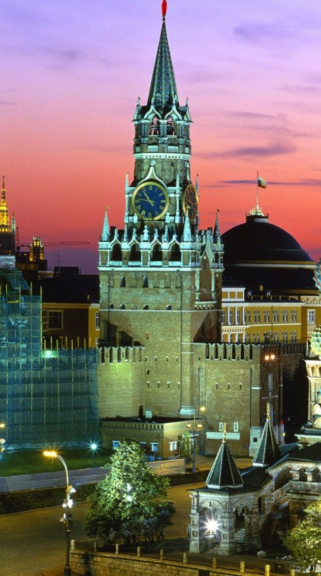 Spasskaya Tower of the Moscow Kremlin in the sunset. #Russia