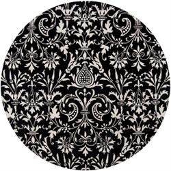 8' Les Cryne Jardin Damask Winter White and Jet Black Wool Round Area Throw Rug