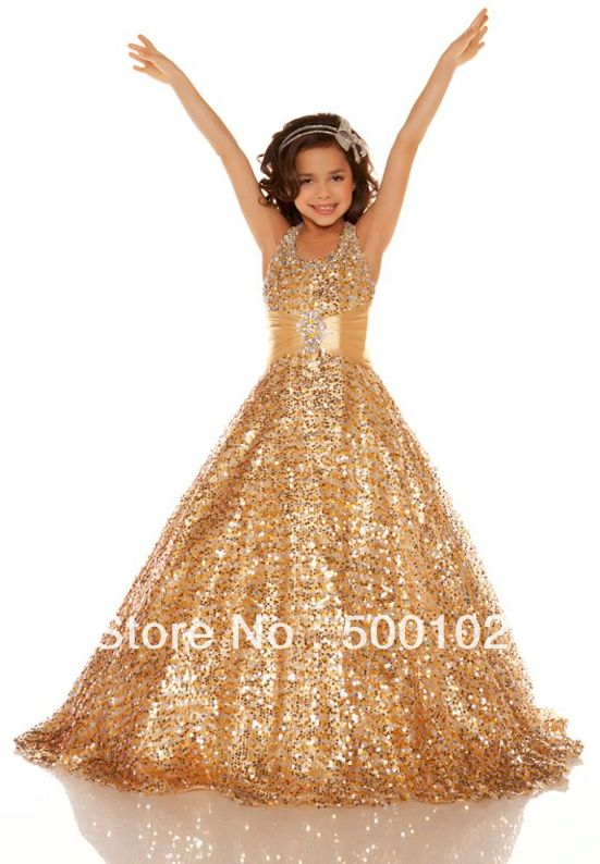 2013 Gold Halter Beaded Dresses for Girls of 7 Years old Pageant Dresses without inbuilt Petticoat $74.00