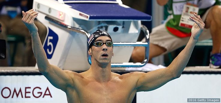Michael Phelps celebrates winning gold in the men's 200-meter butterfly final at the Rio 2016 Olympic Games at the Olympic Aquatics Stadium on Aug. 9, 2016 in Rio de Janeiro.