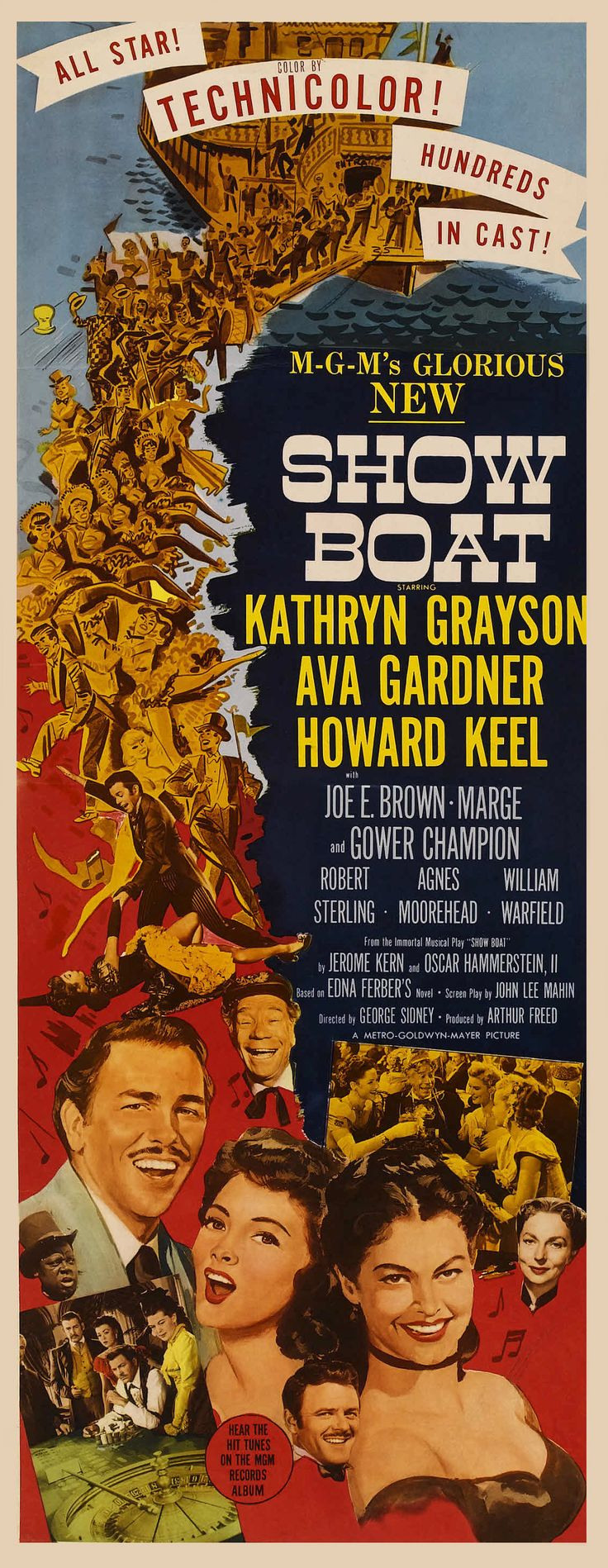 Classic movie poster, Show Boat is a 1951 American musical romantic drama film based on the stage musical of the same name by Jerome Kern (music) and Oscar Hammerstein II (script and lyrics), and the 1926 novel by Edna Ferber. This 1951 film version, by MGM, was adapted for the screen by John Lee Mahin, and was produced by Arthur Freed and directed by George Sidney.