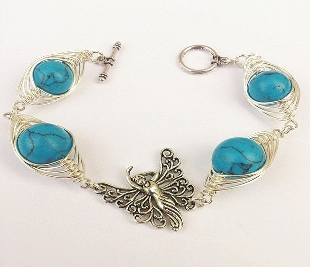 """wire wrapped bracelet, for gift, wire wrapping, plated wire, with desert sand beads bracelet, by SHINE """"TURQUOISE BUTTERFLY"""" magic bracelet. by SHINEmagicJewellery on Etsy"""