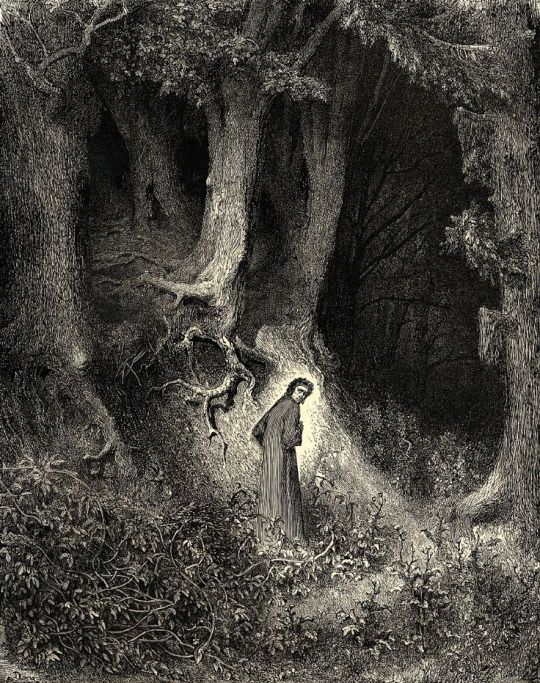 """""""In my midlife, I found myself in the middle of a dark forest."""" (Divine Comedy. Inferno) Illustration by by Gustave Dore."""