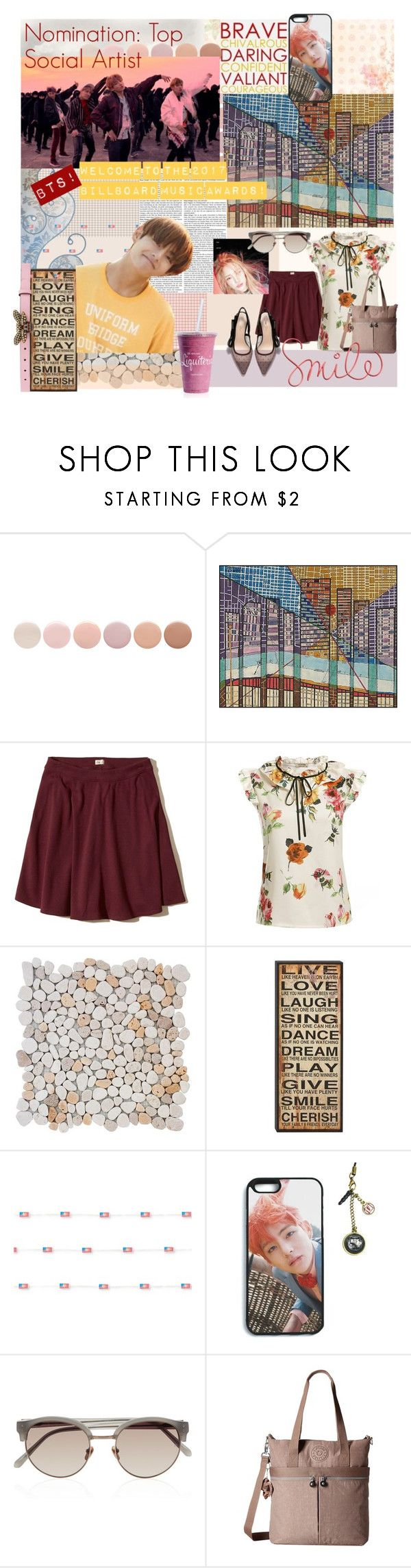 """Welcome BTS to the Billboard Music Awards !!!"" by tokyotrekker ❤ liked on Polyvore featuring Deborah Lippmann, Hollister Co., Studio Mercantile, GET LOST, Linda Farrow, Kipling, Gucci, kpop, bbmas and bts"