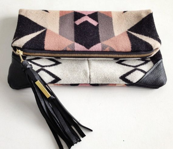 Vivi Handmade Pendleton wool Clutch laptop/MacBook Pro case with leather corners Yoshimi