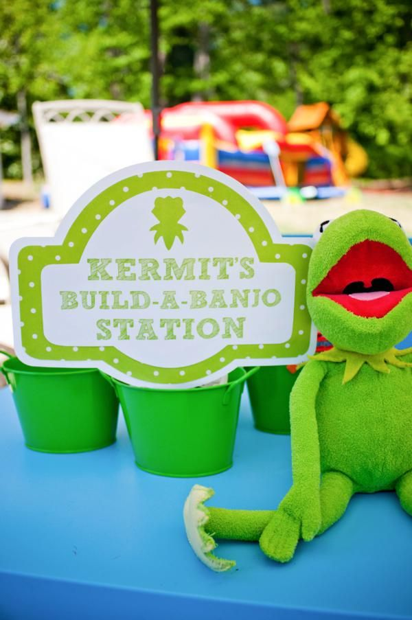 Muppet Party Inspiration Board by Bella Bella Studios ~ Sweet party via Karas party ideas #Kermit #misspiggy #cakepops #dessert #party #bellabellastudios  #Disney #beaker #Fozzie #Rowlf