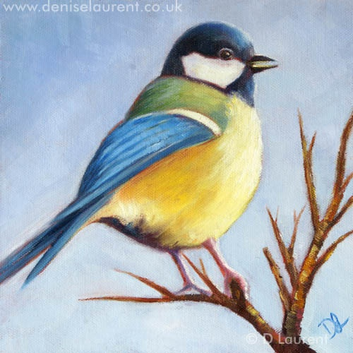 This is a quick little oil painting of a Great Tit on a branch. It's a sight I see a lot, all I have to do is look out of my window and there they are, beautiful little birds, singing in the trees and going about their feathery business.