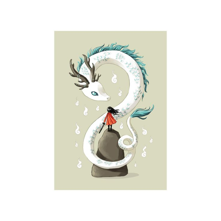 Though she be but little, she is fierce! We've turned this Asian inspired art from Lithuanian illustrator and digital artist, Indre Bankauskaite into a girl and dragon art wall sticker decal. Dragon Spirit captures a young girl in a red cape, sword in hand facing a winding white and aqua serpent in this anime art decal. This fantasy art wall decal shows the chibi or small child on a rock so she can reach the dragon but she will not be deterred. Dragon Spirit is available in 3 sizes…