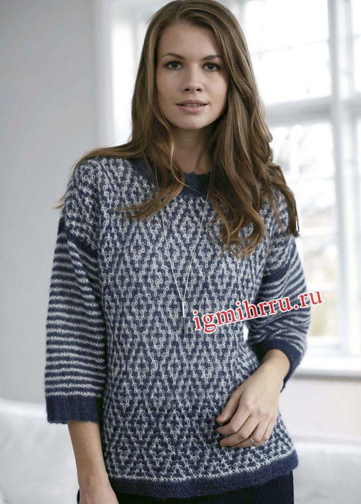 Жаккардовый пуловер с рукавами в полоску. Вязание спицами