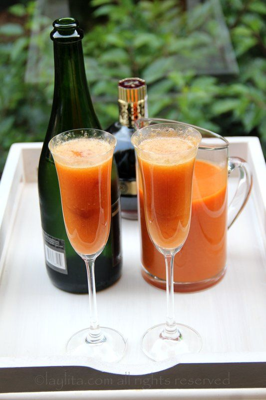 Bellini cocktail with fresh peach puree