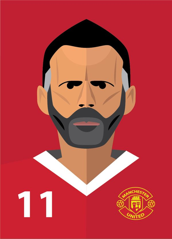 giggsy - Manchester United Players by Vlad Kuzmin, via Behance