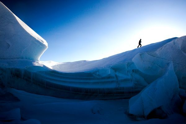Will Steger climbs a glacier in Ellesmere Island in 2008.   ||  Photograph by Ben Horton, Will Steger Foundation