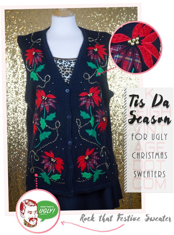 Ugly Christmas Sweater Vest, Christmas Jumper, Tacky Sweater, Size Large 12-14, Ugly Plus Size Christmas Sweater, Beaded Poinsettias by KLeighVintage on Etsy