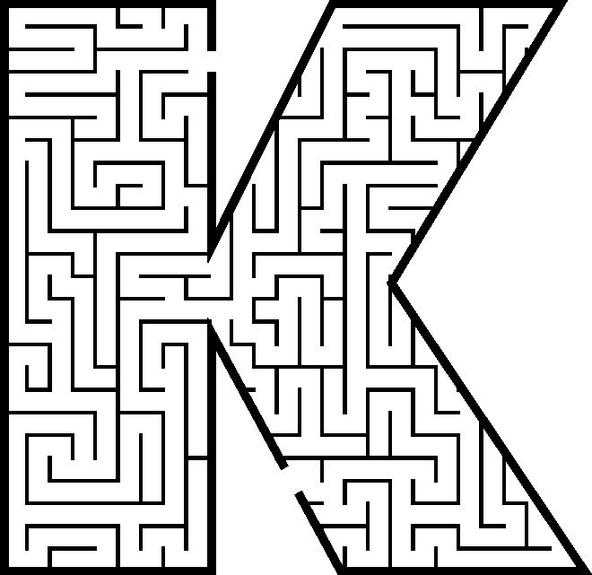 Letter K shaped maze from PrintActivities.com