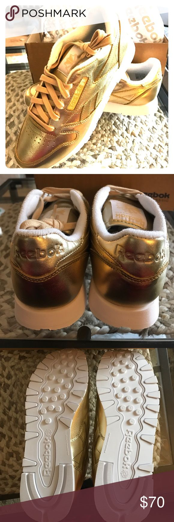 BRAND NEW Gold Reebok Classic Sneakers Amazing pair of brand new gold classic Reebok sneakers. Never worn! Reebok Shoes Sneakers