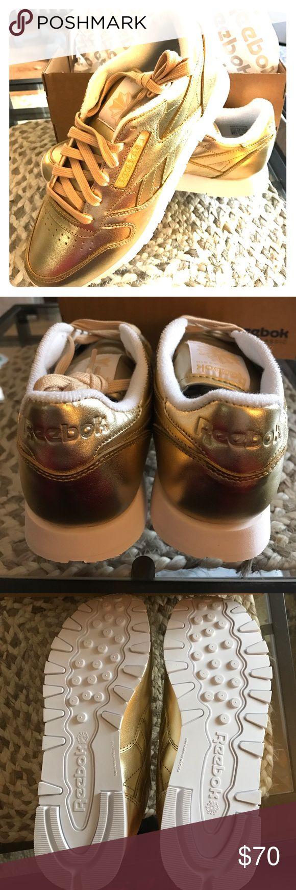BRAND NEW Gold Reebok Classic Sneakers Amazing pair of brand new gold classic Reebok sneakers. Never worn! Reebok Shoes Sneakers