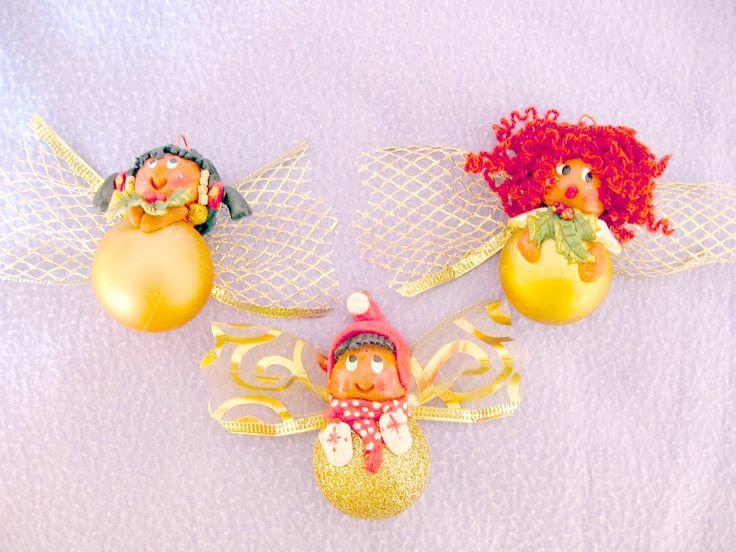 Palline per l'albero di Natale - tre angioletti tutti d'oro