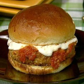 Chicken Parm Burger: Dinners Tonight, Parmesan Burgers, Parm Burgers, Thechew, Chicken Parmesan, The Chewing, Recipes, Ground Chicken, Debi Tschinkel