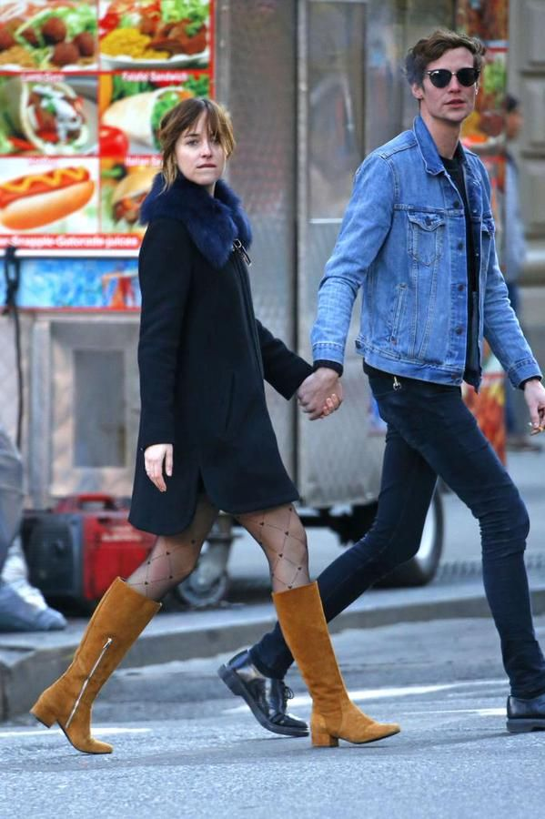 Pictures of Dakota with Matt Hitt yesterday in the East Village! #DakotaJohnson