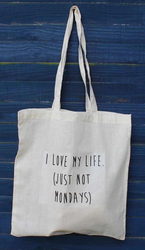 I love my life quote tote bag - such a beautiful, unique bag - positive quote via Etsy