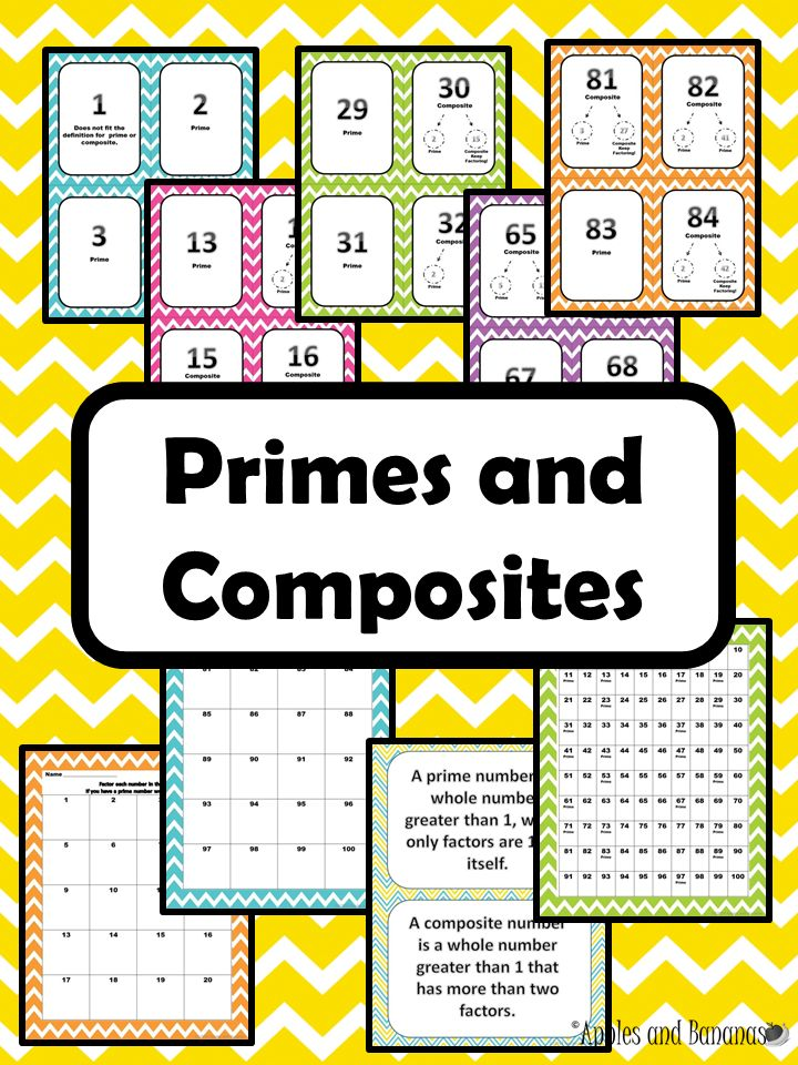 All about prime and composite numbers.  Includes 25 pages of cards from 1-100 labeled as prime or composite, 1 poster with the definitions of prime and composite, 1 poster reference sheet with the numbers 1-100 (primes are identified as prime), & 5 pages of worksheets with room for listing the factors of each number 1-100. ($) #primenumbers #compositenumbers